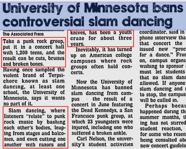 university of minnesota bans slam dancing article clip